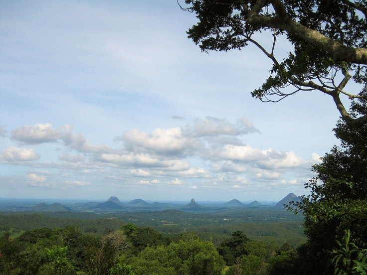 Glasshouse Mountains, as seen from Maleny, Queensland.