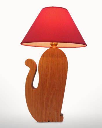 Cat Lamp  Oak