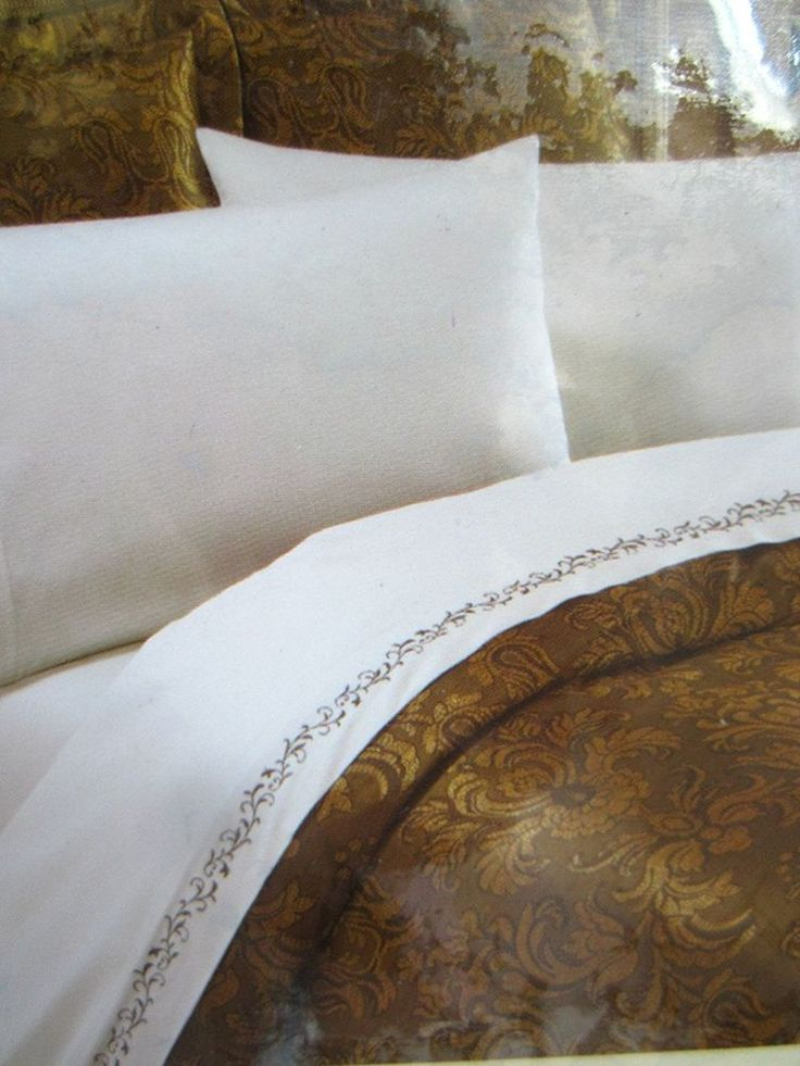 Details About Lenox Gilded Tapestry Queen Sheet Set Ivory Brown Trim