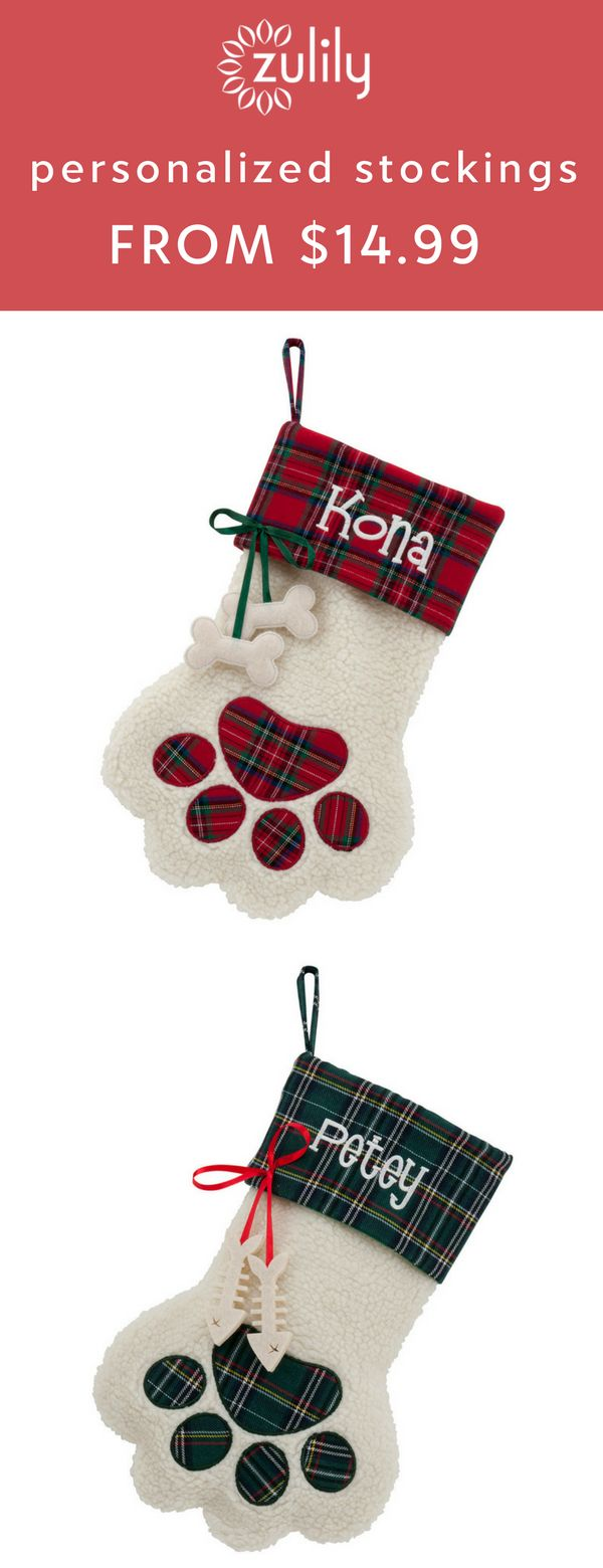 Sign up to shop personalized Christmas stockings starting at $14.99. Boasting plush construction, classic holiday charm and a lucky pet's name, this stocking will feel right at home atop your fireplace this Christmas.