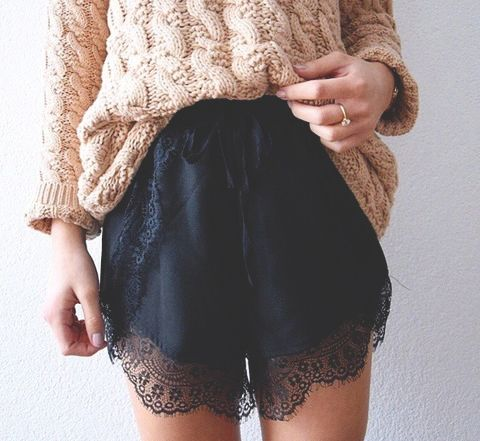 cable knit + lace trim shorts