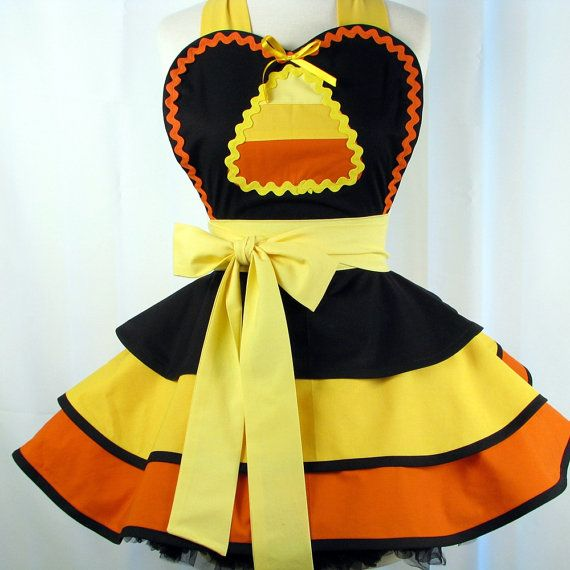 Dark Candy Corn Halloween Apron Womens Sexy Entertaining or Costume - Made to Order. $72.00, via Etsy.