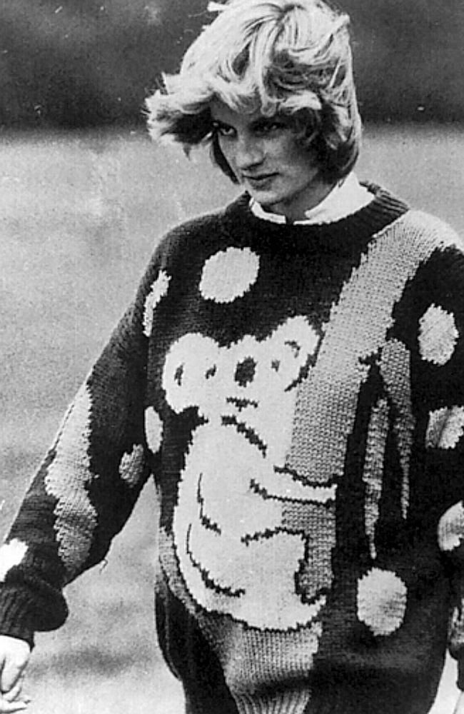 The blinky Di pullover, The Australiana Craze, from 1981 when she married Prince Charles was among the Wedding gifts,a Jenny Kee Koala and kangaroo hand knitted jumper