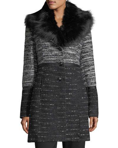 Faux-Fur-Collar Chunky Tweed Coat