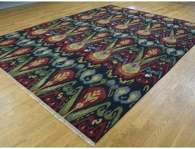 Isabelline One-of-a-Kind Brieley Ikat Design Soumak Double Weft Handwoven Black Wool Area Rug