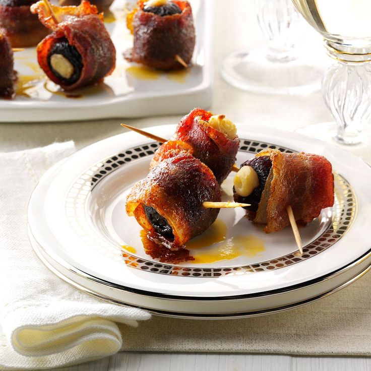 Candied Bacon-Wrapped Figs Recipe -I stuffed figs with cream cheese and wrapped them in bacon and spices for an addictive flavor combo that's sweet, salty and delicious. You can use dates, too. —Shelly Bevington, Hermiston, Oregon