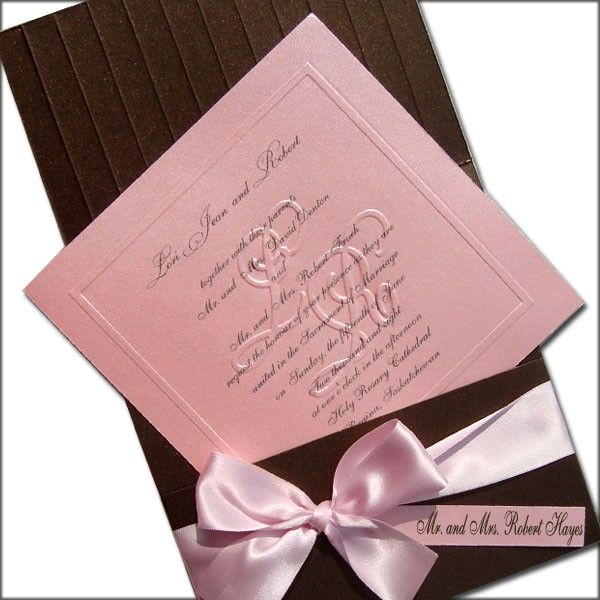 Pink And Brown Wedding Invitations (Source: img0.etsystatic.com)