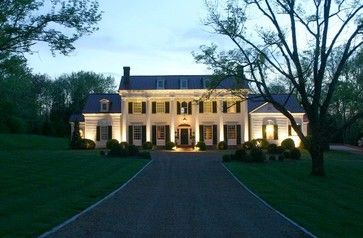 A 19th Century Classical Revival Home in Nashville with Traditional Landscaping and Dramatic Landscape Lighting