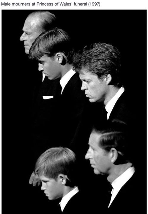 Top to Bottom:Prince Philip,Duke of Edinburgh;Prince William,Duke of Cambridge;Charles Spencer,the 9th Earl Spencer;Prince Harry of Wales and Prince Charles of Wales at Princess Diana's funeral.