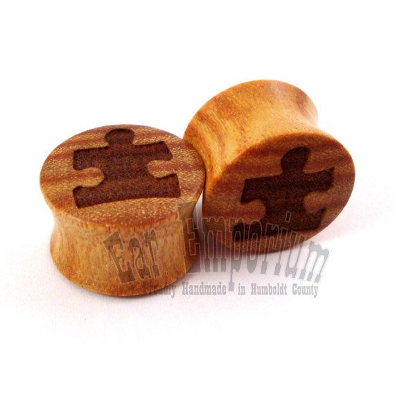 Puzzle Piece Canary Wooden Plugs  0g 8mm 00g 9mm by EarEmporium, $30.00