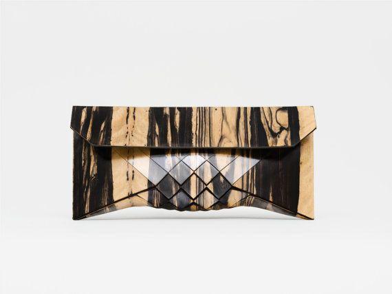 Wood clutch wood purse women's purse evening by TeslerMendelovitch
