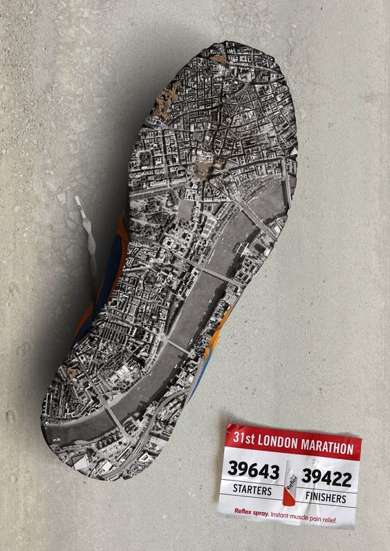 London Marathon Ad. Beautiful Minimalist Print Ads. www.momentum18.com/blog/beautiful-minimalist-print-ads/