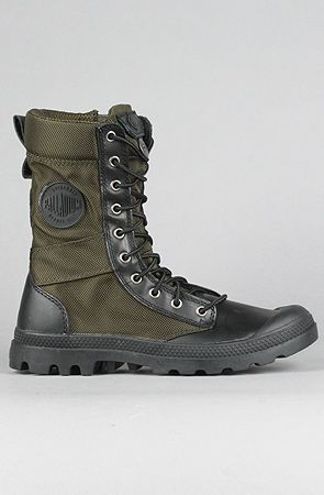 The Pampa Tactical Boot in Olive Drab & Black by Palladium at karmaloop.com