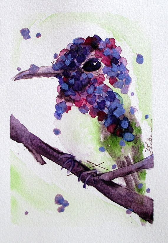 Original Watercolor Painting of Hummingbird,  Hummingbird Art, Colorful Hummer