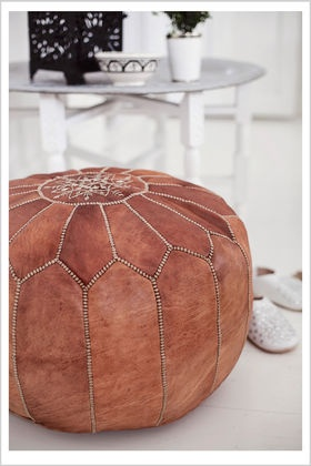 Leather ottoman - get from Navone in fun colors!