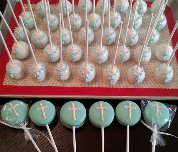 Baptism & First Communion French macarons & cake pops