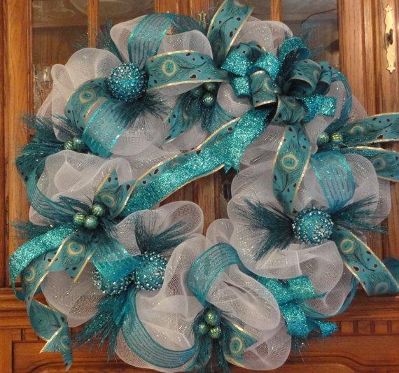 Pretty turquoise peacock wreath