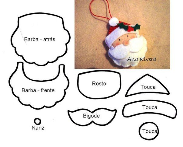 Handmade-courses, patterns, tutorials: Christmas ornaments with felt-schemes http://handmadekursytutoriale.blogspot.de/2013/11/bozonarodzeniowe-ozdoby-z-filcu-schematy.html