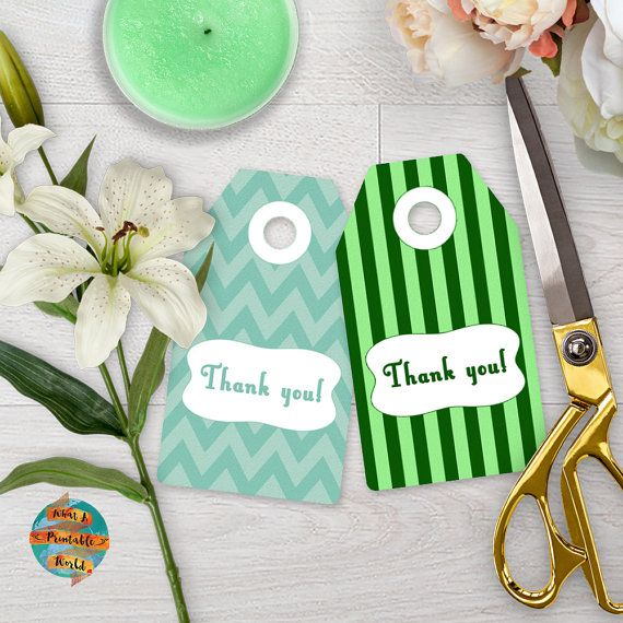 Thank You Tag green stripes and chevron gift anniversary