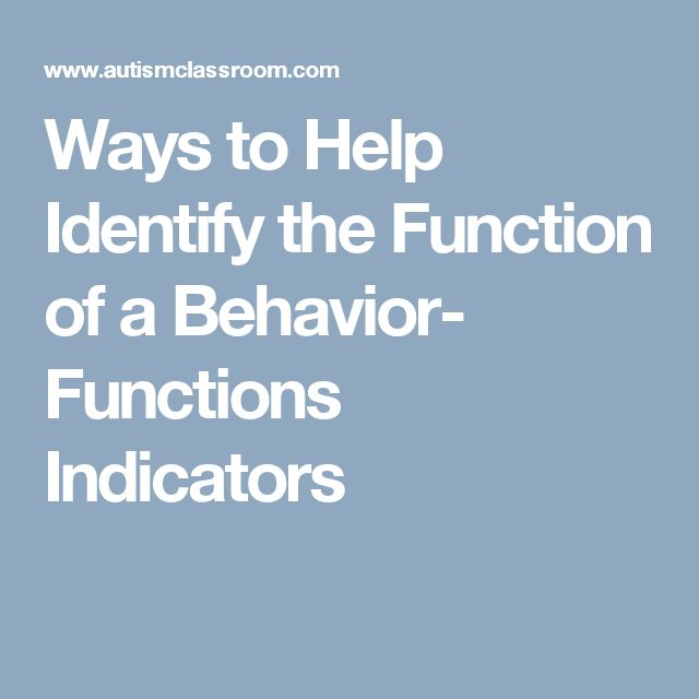 Ways to Help Identify the Function of a Behavior- Functions Indicators