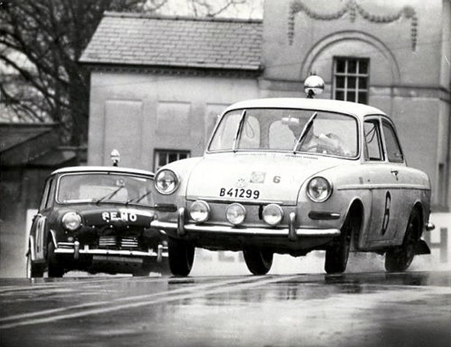 1963 RAC rally VW1500S and Mini Cooper. VW looks terrifying to drive at the limit! Check the 4 unique camber angles.