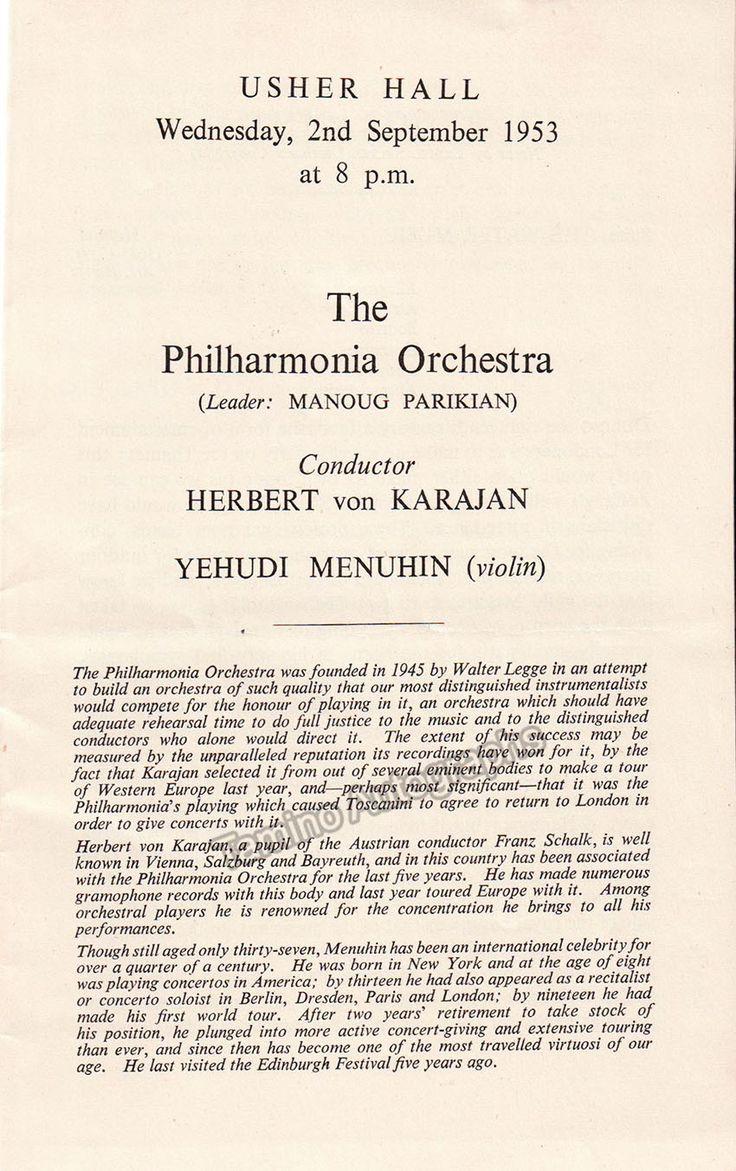 Menuhin, Yehudi - Program Edinburgh International Festival with Karajan 1953