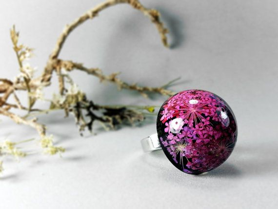 Pink and purple queen anne lace resin ring Big by ByEmilyRay