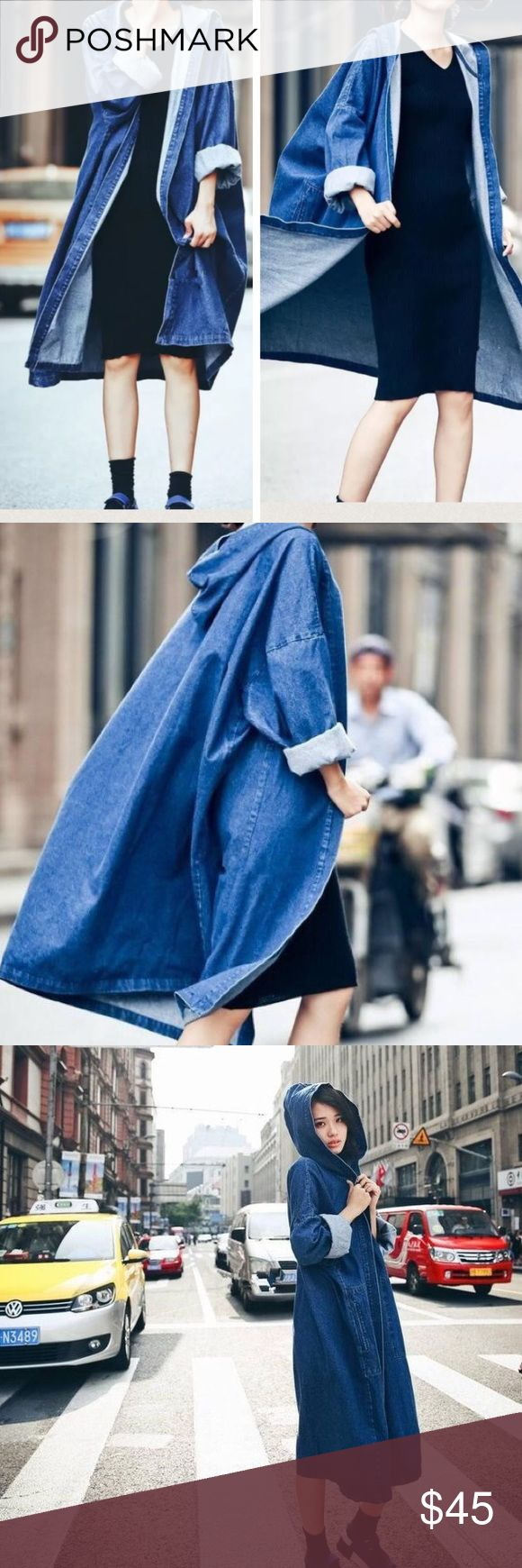 "Open front Denim longline wind coat Blue, Denim with hoodies, great for later summer and fall, winter. Bust and waist is open, US S-Asian M length: 40"", US M-Asian L: length 41 "" US L-Asian XL 42"", US XL-Asian XXL: length 43"" Jackets & Coats"