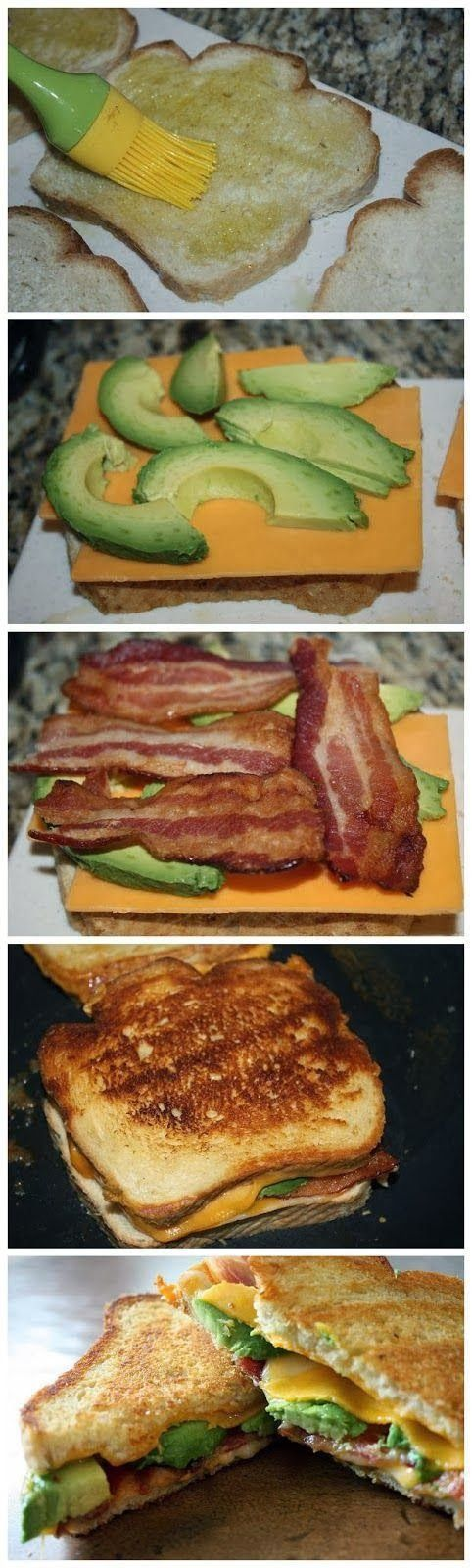 Yummy Recipes: Bacon Avocado Grilled Cheese recipe -- except I'd use turkey bacon.