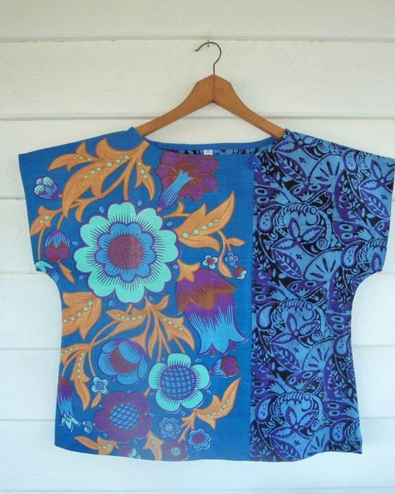 Upcycled Tea Towel Patchwork Women Top Shirt Linen by apieceofpie, $72.10