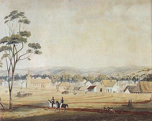"""Adelaide in 1839 as viewed south-east from the western end of North Terrace, including Holy Trinity Church. (The church tower lost its """"peaked cap"""" in 1844.)"""