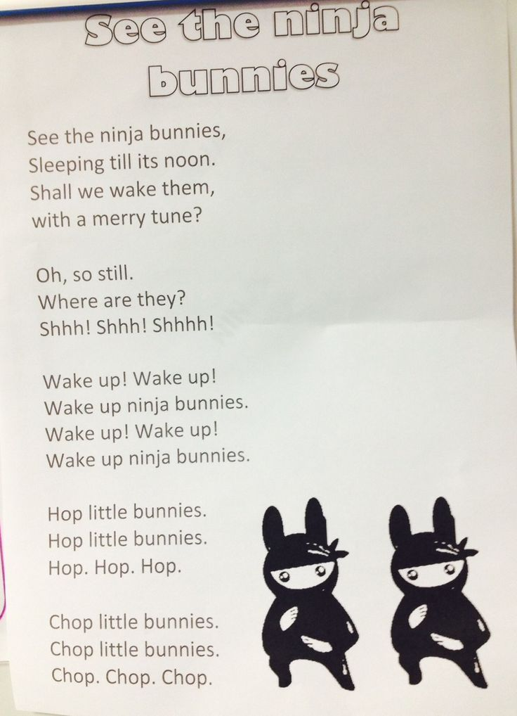"Ninja adaption of ""See the sleeping bunnies"" for ninja Storytime."