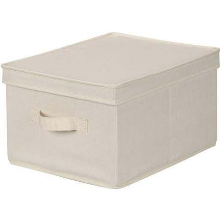 Household Essentials Large Canvas Storage Box with Lid