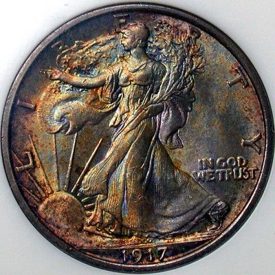 1917--Fifty Cent Coin--USA - Walking Liberty Half Dollars, great coins for beginners to start collecting.  90% silver with a beautiful design.