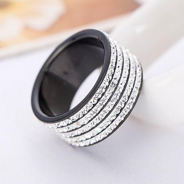 Black Gun Plated Stainless Steel Engagement Jewelry 5 Row Crystal Wedding Rings