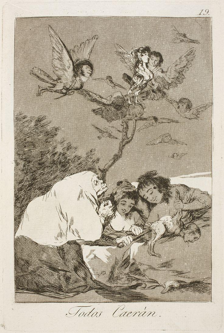 """Francisco de Goya: """"Todos Caerán"""". Serie """"Los caprichos"""" [19]. Etching and aquatint on paper, 215 x 144 mm, 1797-99. Museo Nacional del Prado, Madrid, Spain"""