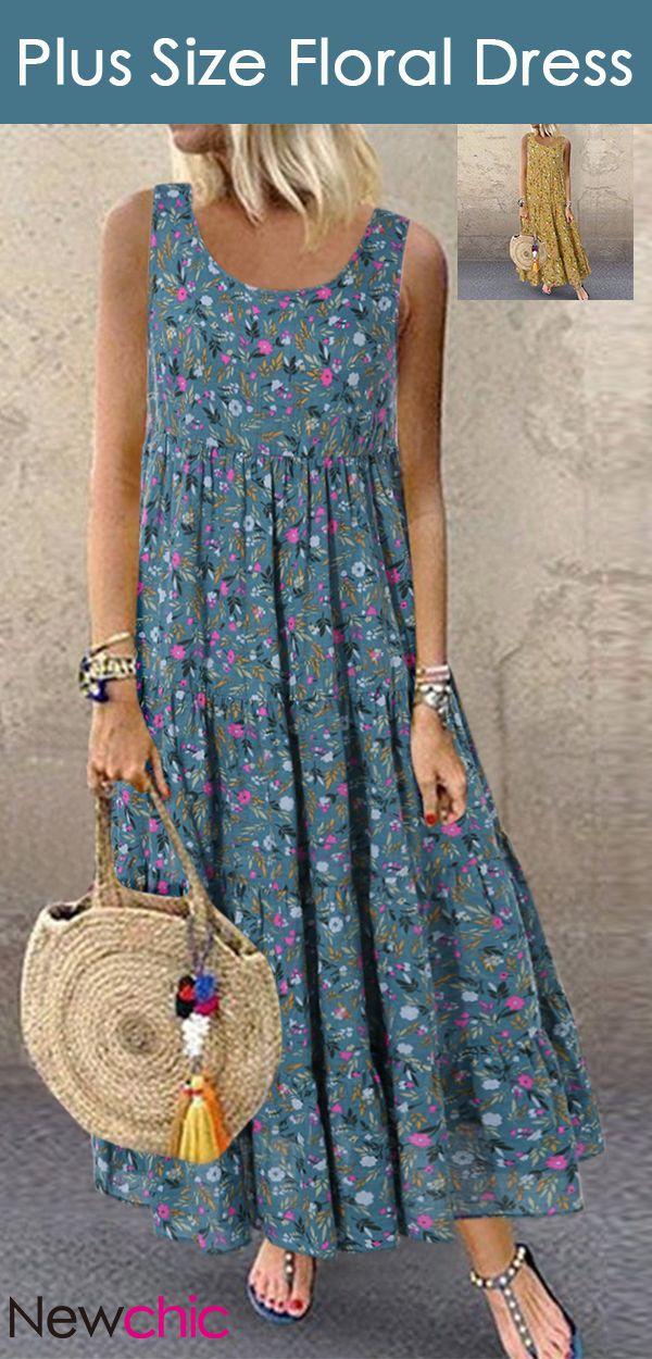 Hete verkoop | Boheemse mouwloze maxi-jurk met bloemenprint