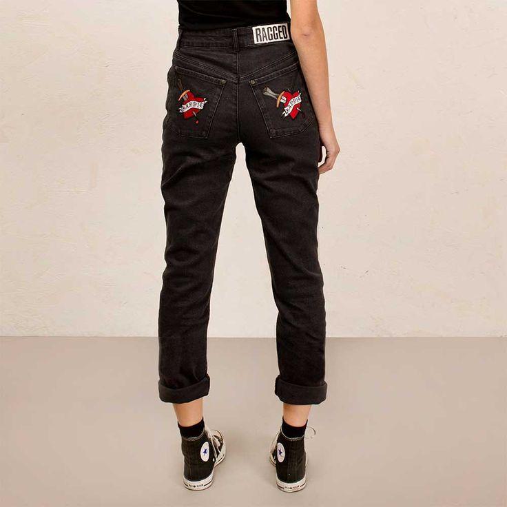 The Ragged Priest Baddie Bum Mom dames spijkerbroek jeans met hoge tai