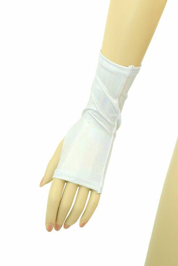 Flashbulb Holographic Fingerless Gloves Cosplay Festival Rave Ready To Ship! #CoquetryClothing