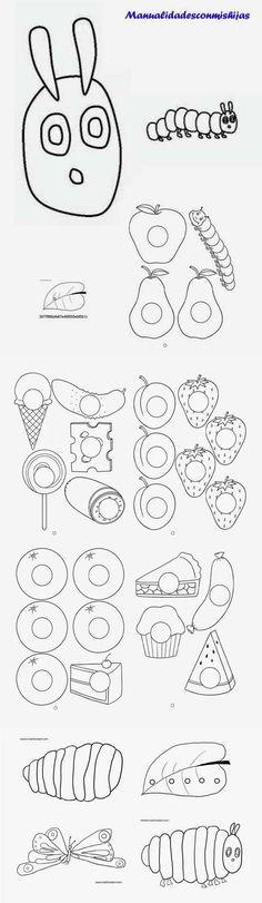 Moldes para minilibro gusanito de La pequeña oruga glotona. Mini-book The very hungry caterpillar