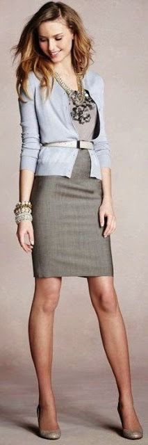 Women's Business Fashion Trend I love the belt-over-cardi look. emphasizes a small waist