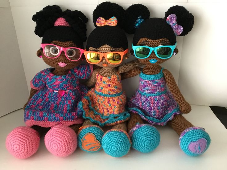 Crochet Dolls; African American Dolls with natural hair styles; Afro Puffs and curly ponytail