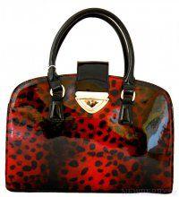 Exklusivní lesklá červená kabelka do ruky fasco Berlin 2002-879