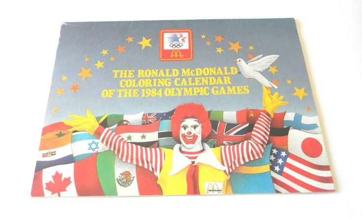Ronald McDonald Coloring Book Calendar Of  1984 Olympic Games Mcdonald Coupons  #McDonalds