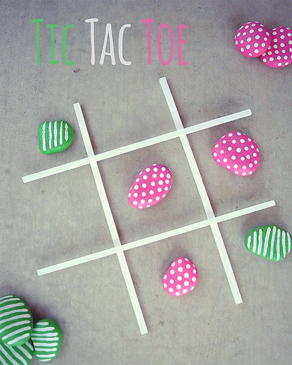 DIY Tic-Tac-Toe With Painted Rocks - Have the kids each make their own set of rocks at the beginning of the year and pull out for a fun break as needed.  They need more practice with these logic games.