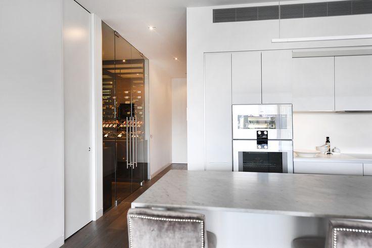 South Yarra Apartment glass wine room  Vine & Vault Custom Cellars