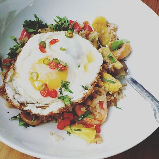 Pineapple Fried Rice, Sunny Side Up Egg, Chili-Lime Fish Sauce for breakfast. #vcbfood #eattheworld #scoutYVR