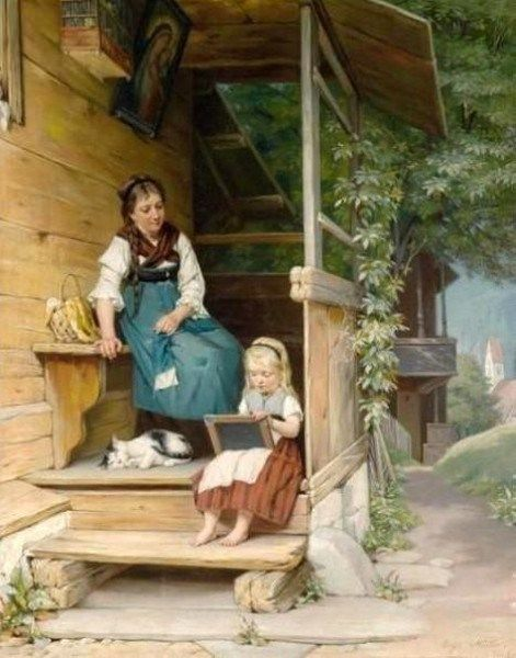 """""""The Writing Lesson"""". August Muller (1836-1885) German painter."""