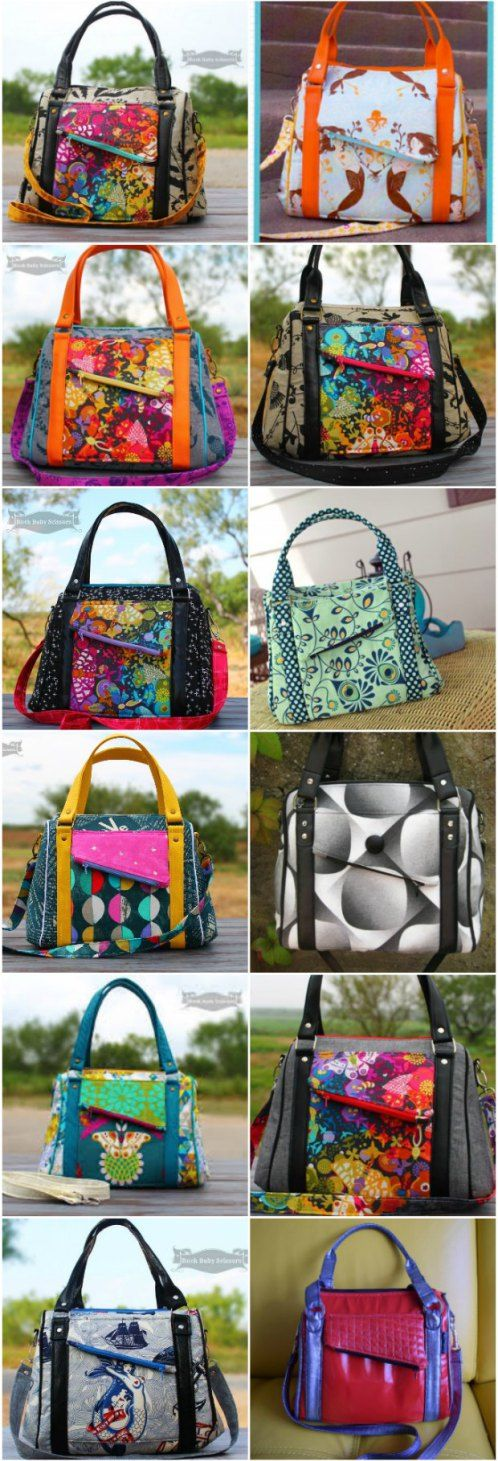 Sewing pattern for this 'Rockstar' bag. Looks fab in every possible combination of fabrics. The perfect purse sewing pattern. Check out the slide show for lots of examples to inspire you to sew this bag.