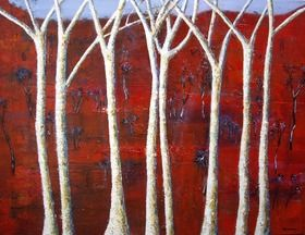 I love painting trees, this a a smaller version of a painting, that sold as soon as it was hung in a gallery.  The bark of the trees are very textured, the light colour standing out on a red background Saplings 2  120CM X 90CM Grace Delaney Mixed on Canvas $1596